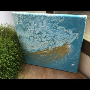 Original signed acrylic pour painting beach water